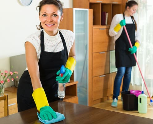two ladies cleaning a house. general cleaning service